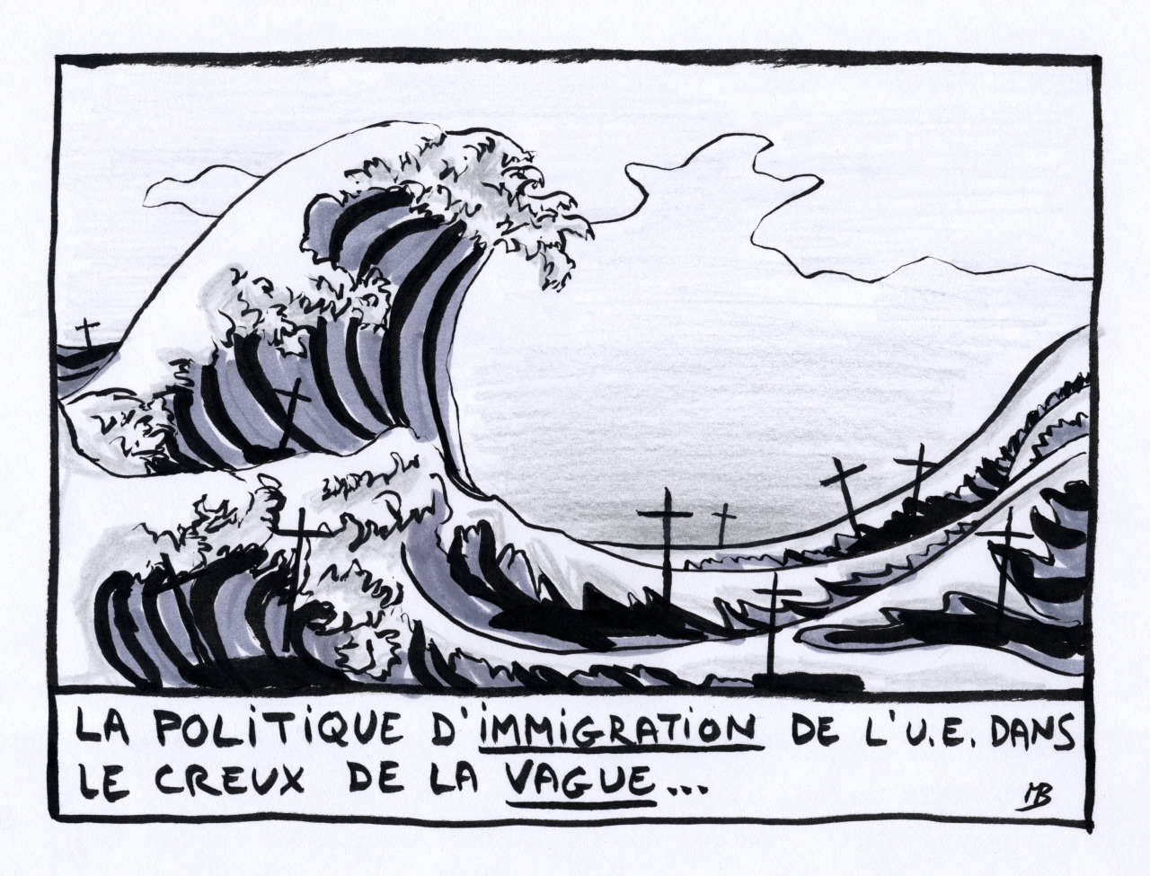 immigration creux vague dessin