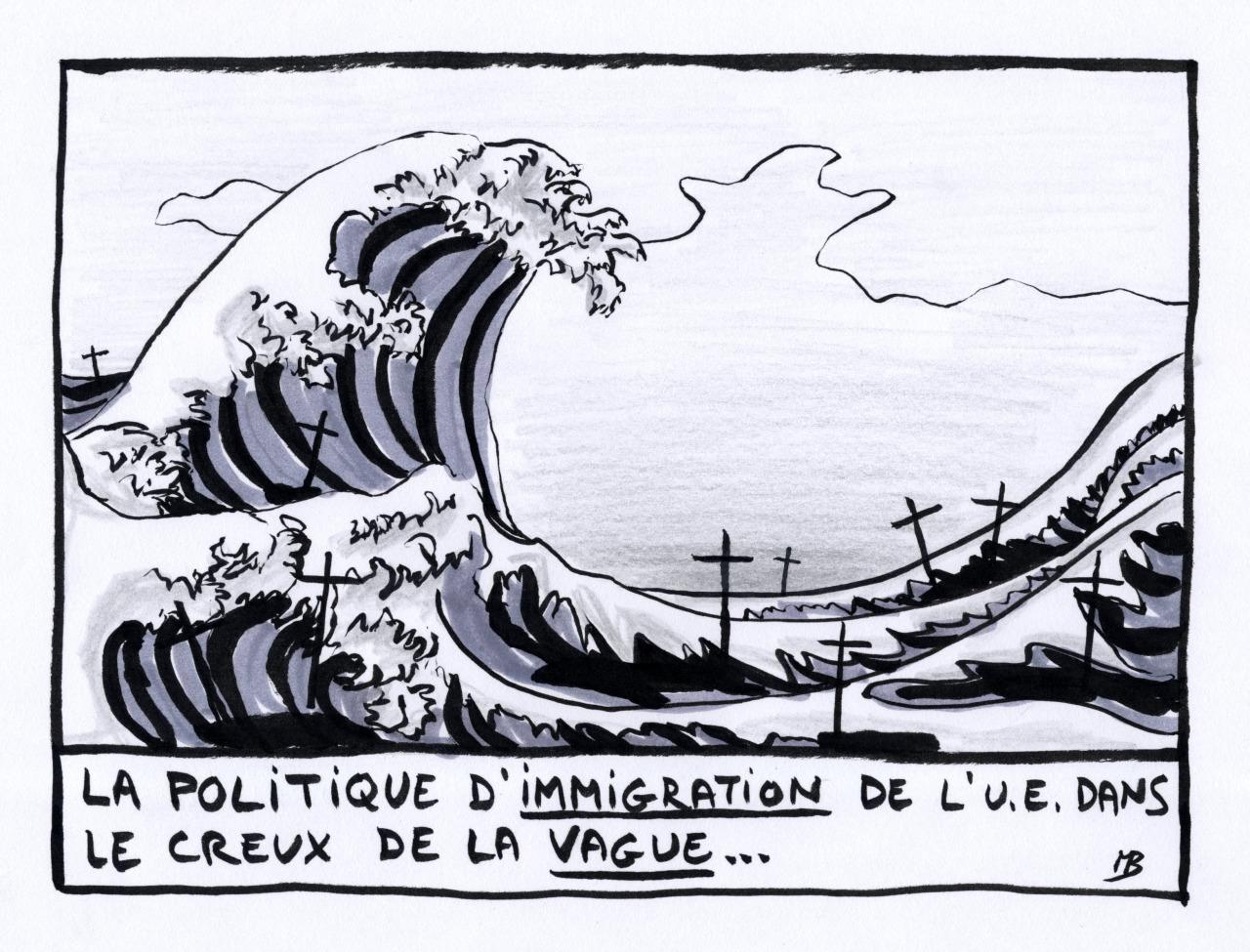 immigration creux vague dessin