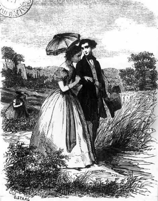Pierre- Gustave STAAL - Félix et Henriette se promenant le long de l'Indre, gravure de 1871 - Domaine public
