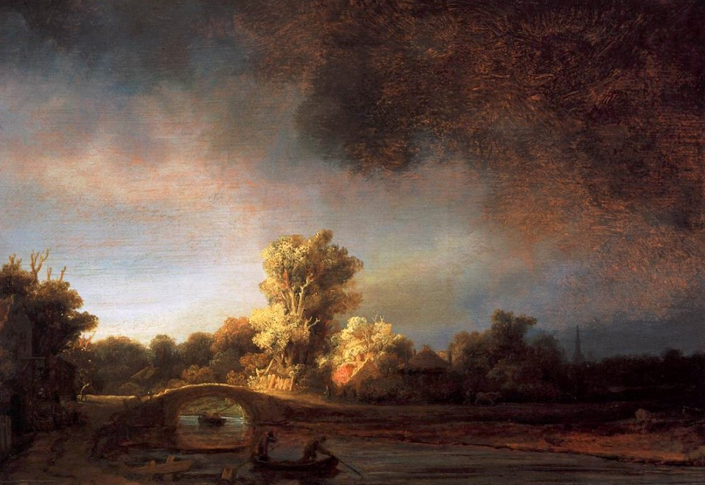 REMBRANDT - Paysage avec un pont de pierre - 1638 - Domaine Public