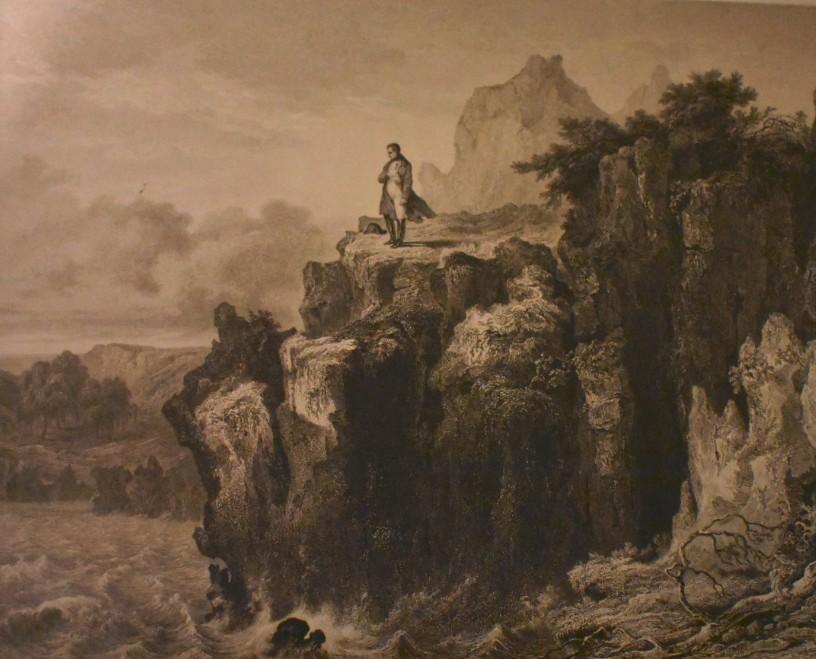 Napoléon à Sainte Hélène, gravure de Pierre-Eugène Aubert, 1840, eau-forte et burin, BNF - Photo personnelle